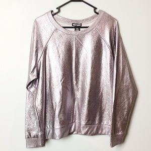 Hot Topic NWT shiny gunmetal crew sweatshirt 2X